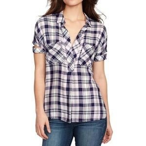 William Rast Lydia Plaid Pullover Henley top